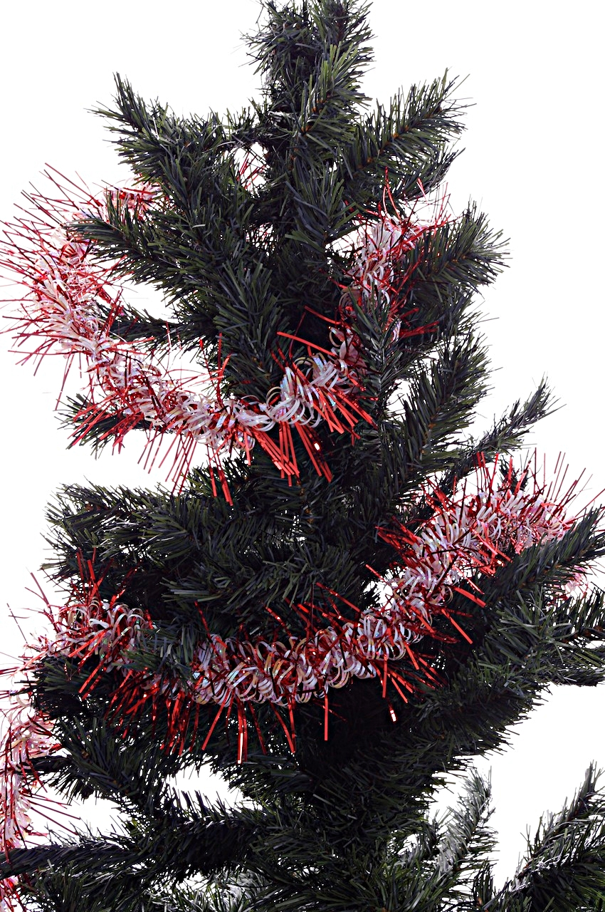 Red white christmas tree garland decoration indoor