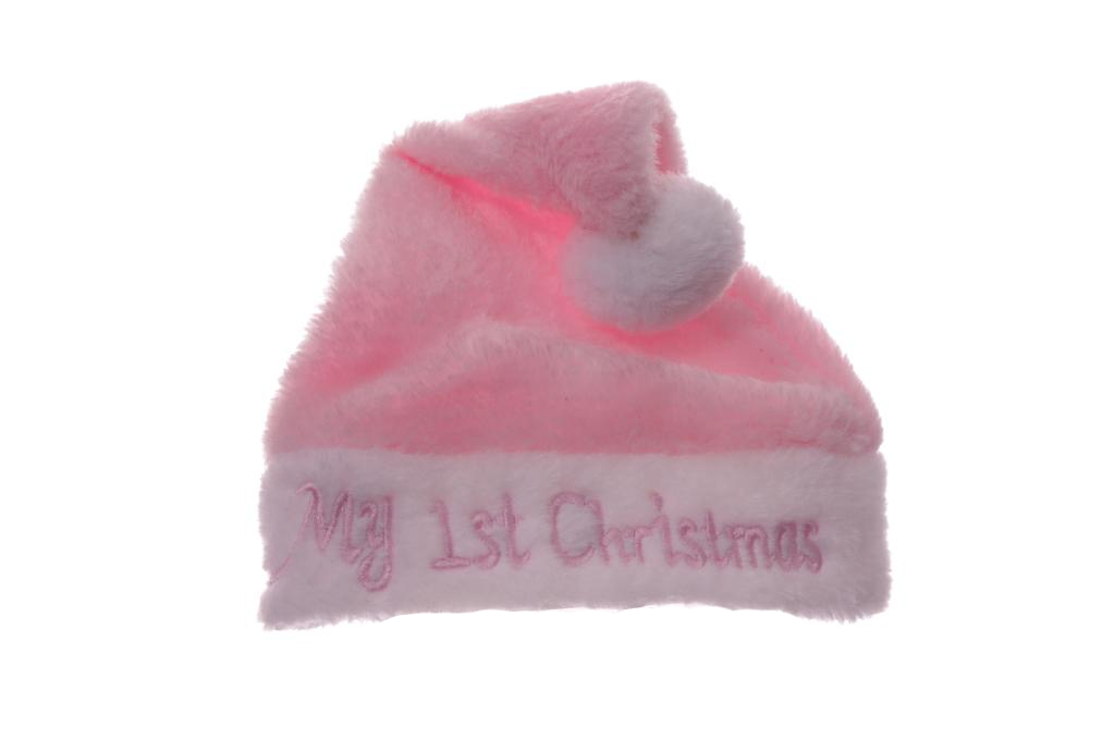Baby Infant Girls My First 1st Christmas Santa Claus Hat Pink White ... 98b54cebae1