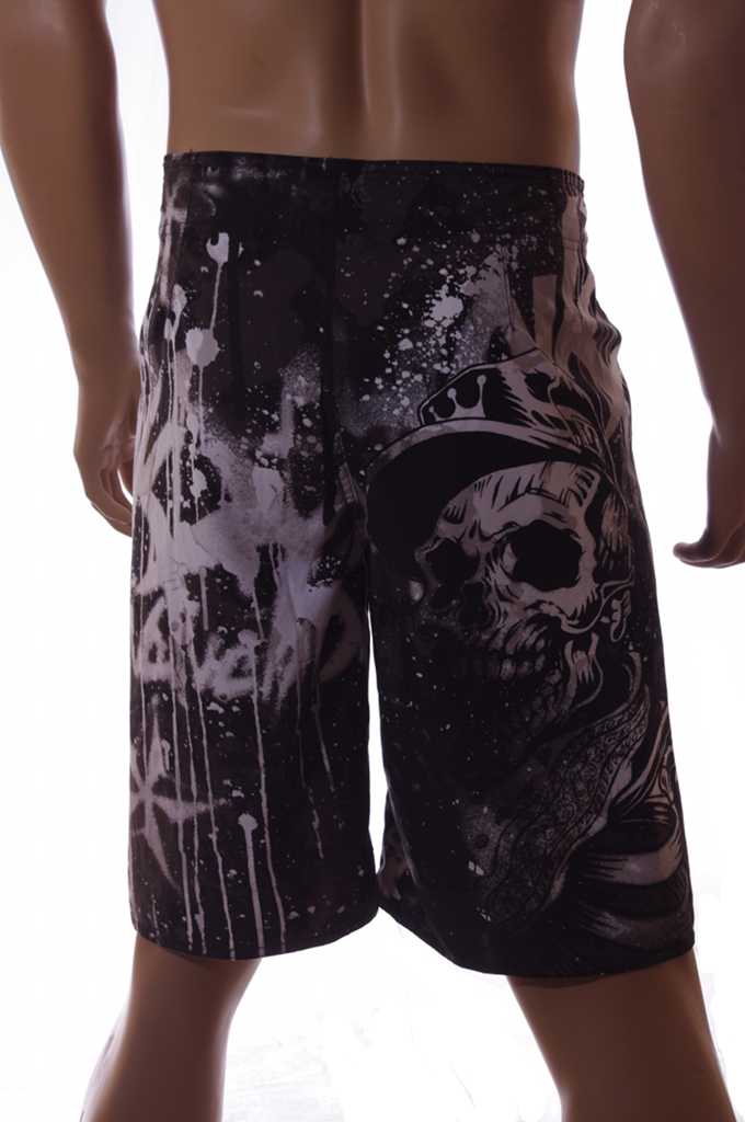 Mission Bay Mens Black Skull Skeleton Swim Trunks Board