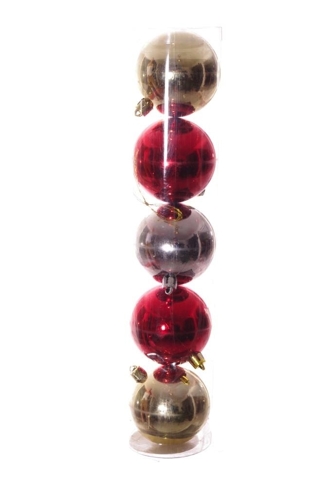 Gold Red Silver Round Holiday Christmas Tree Ornaments Shiny Plastic 5 Pack New