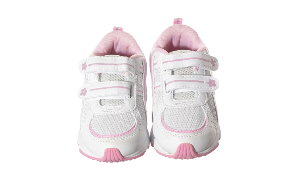 Pink White Silver Velcro School Gym Athletic Tennis Shoes 7 8 9 NEW