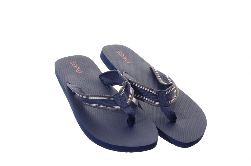 mens esprit blue stripe black beach flip flops sandals. Black Bedroom Furniture Sets. Home Design Ideas