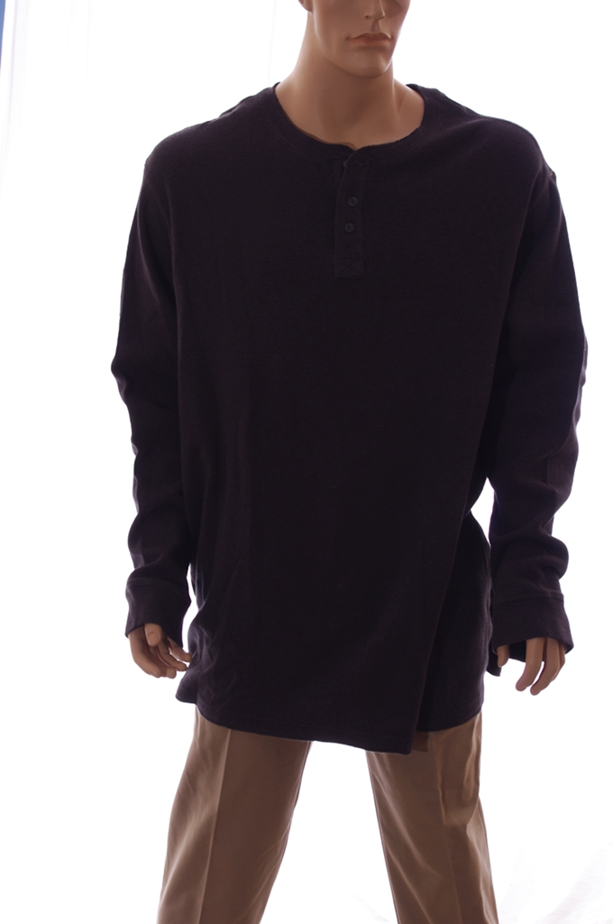 Mens Big Tall Dark Gray Grey Waffle Cotton Button Up LS Shirt 3X 3XB New