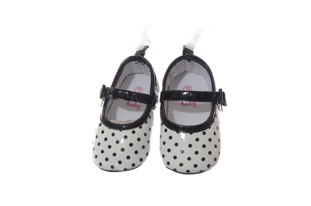 Baby Girls Black White Polka Dot Spring Easter Velcro Flat Dress Shoes 1 2 3 New