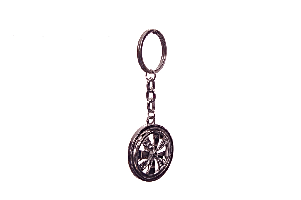 Silver Spinning Key Holder Chain Keychain Wheel Auto Tire Car Rim Spinners New
